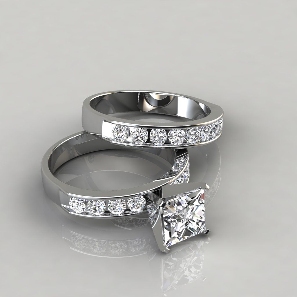 Princess Cut Moissanite Engagement Ring And Wedding Band