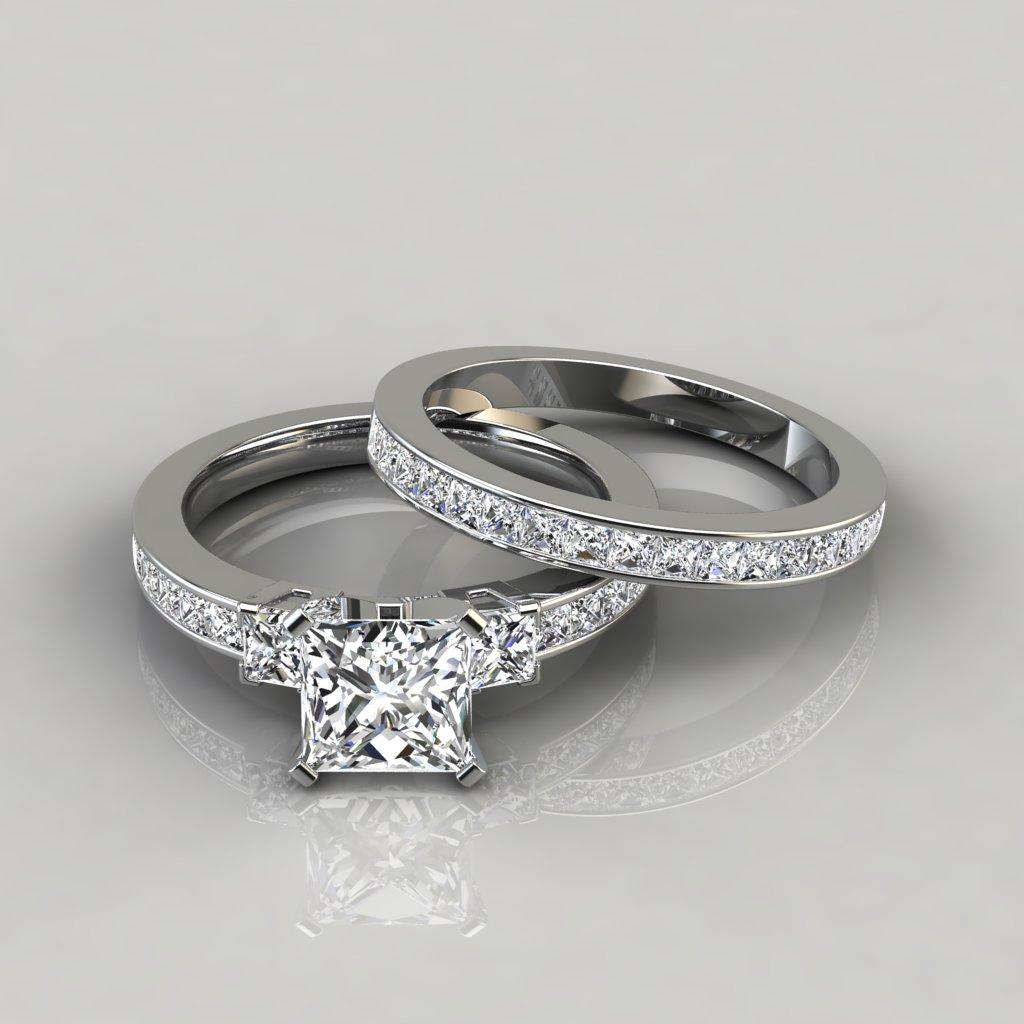 Wedding Band Sets.Princess Cut Engagement Ring And Wedding Band Set