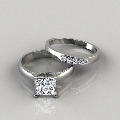 Cross Prong Princess Engagement Ring and Wedding Band