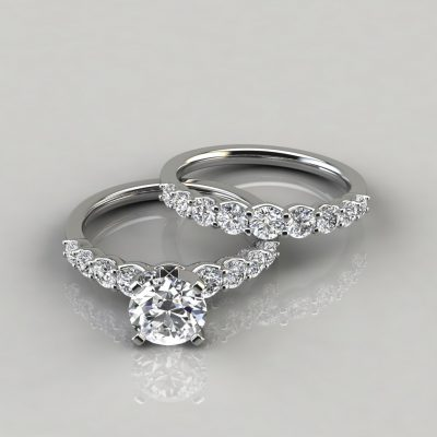 Graduated Round Cut Moissanite Bridal Set