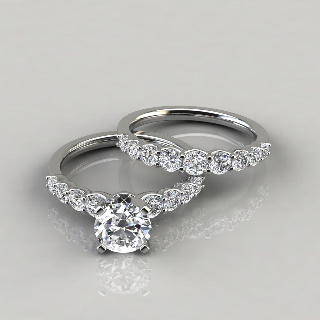 Graduated Round Cut Moissanite Bridal Set Forever Moissanite