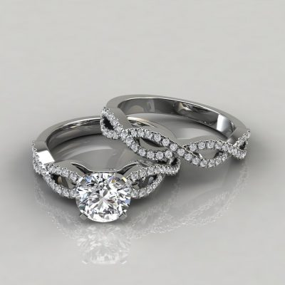 Infinity Design Round Cut Bridal Set Rings
