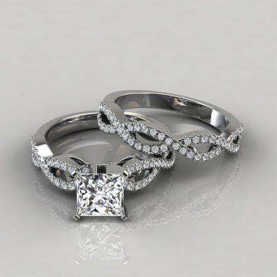 Infinity Design Princess Cut Bridal Set Rings
