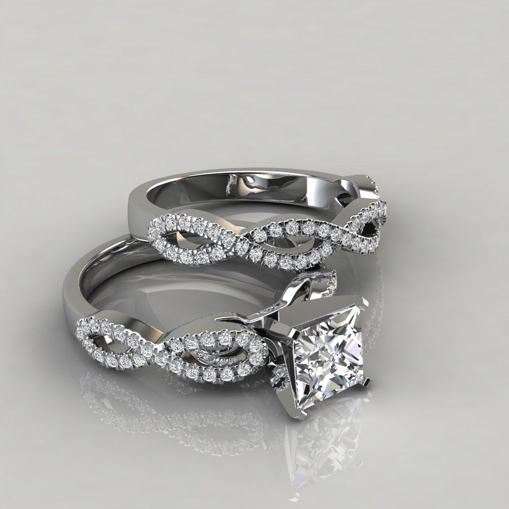 Infinity Design Princess Cut Bridal Set Rings