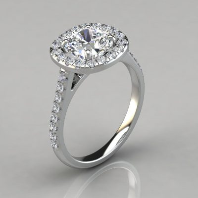 Floating Halo Cushion Cut Gold Engagement Ring