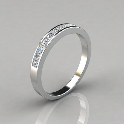 0.48Ct Princess Cut Channel Set Wedding Band Ring
