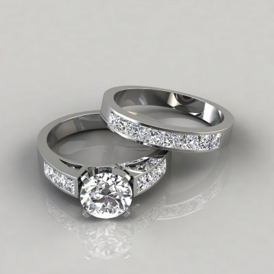 Round Cut Channel Set Engagement Ring and Wedding Band Bridal Set