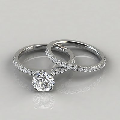 3 CT Custom Made French Pave Cut Moissanite Engagement Ring and Wedding Band