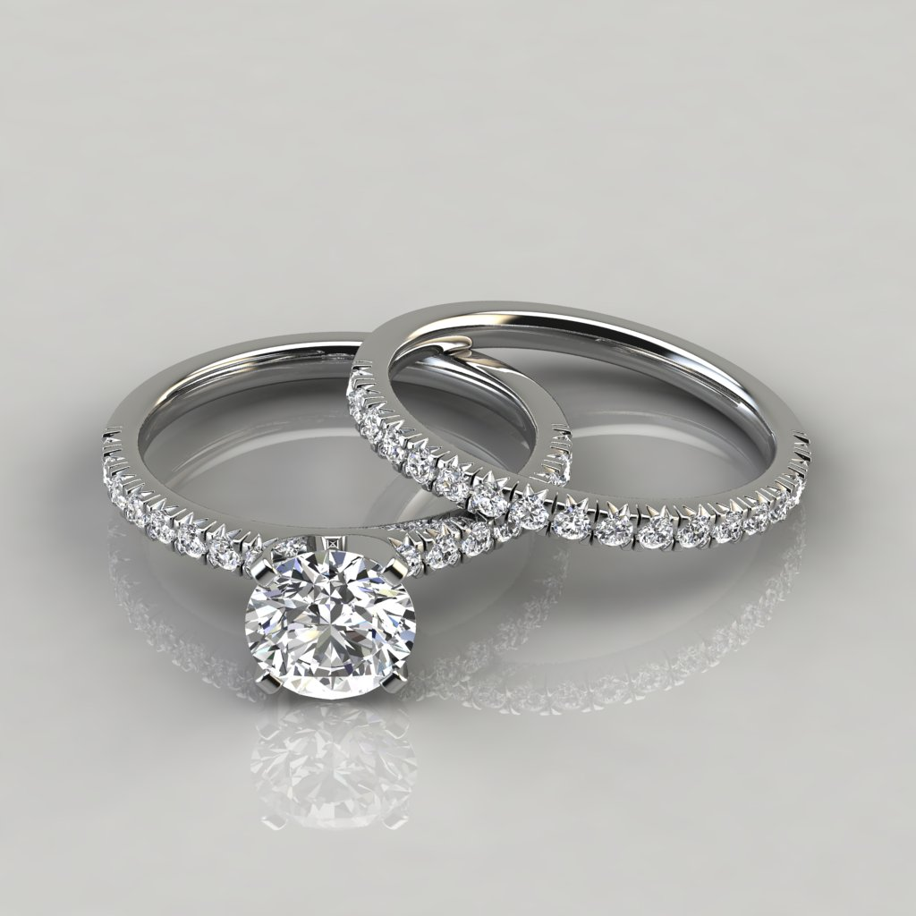 Pave Wedding Band.French Pave Cut Moissanite Engagement Ring And Wedding Band Set