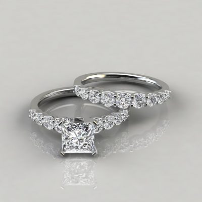 Graduated Moissanite Engagement Ring and Wedding Band Set
