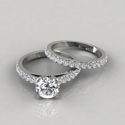 Shared Prong Cathedral Style Engagement Ring and Wedding Band Set