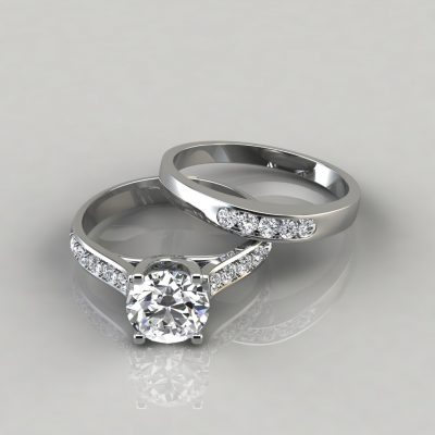 Round Cut Cross Prong Engagement Ring and Wedding Band Bridal Set