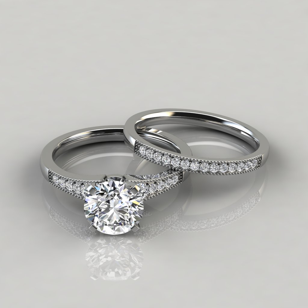 It is a photo of Graduated Milgrain Engagement Ring and Wedding Band Set