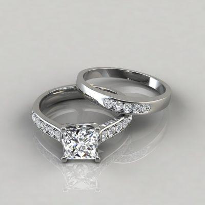 Cross Prong Engagement Ring and Wedding Band Bridal Set