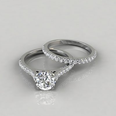 Moissanite Round Cut Tall Cathedral Style Bridal Set