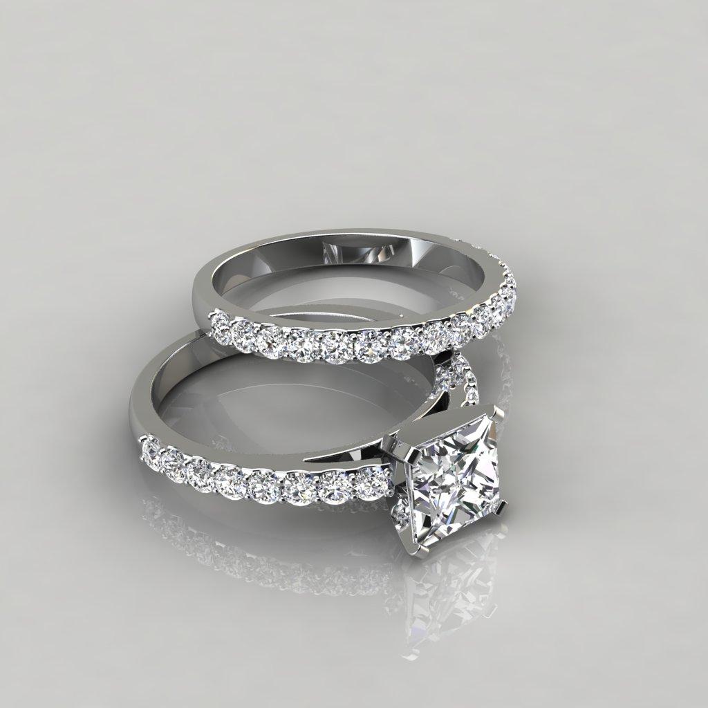 Shared Prong Princess Cut Engagement Ring And Wedding Band