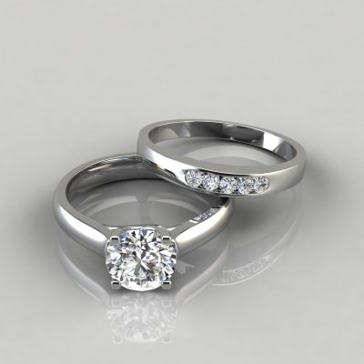 Cross Prong Round Cut Engagement Ring and Wedding Band