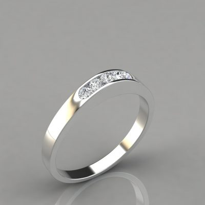 0.13Ct Ladies Round Cut Wedding Band Ring