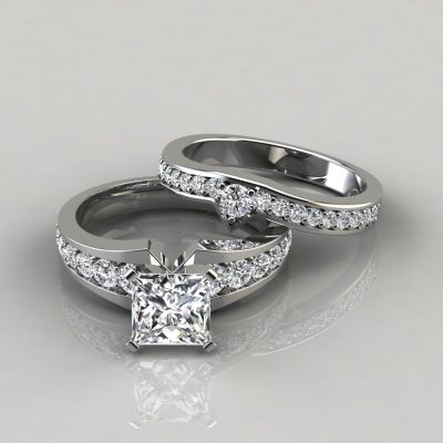 Graduated Pave Princess Cut Engagement Ring and Wedding Band Set