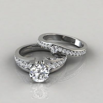 Graduated Pave Round Cut Engagement Ring and Wedding Band Set