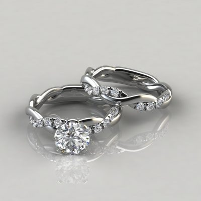 Twist Round Cut Engagement Ring and Wedding Band Set