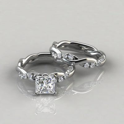 Twist Princess Cut Engagement Ring and Wedding Band Set