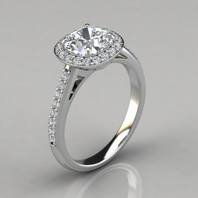 Halo Style Cushion Cut Engagement Ring