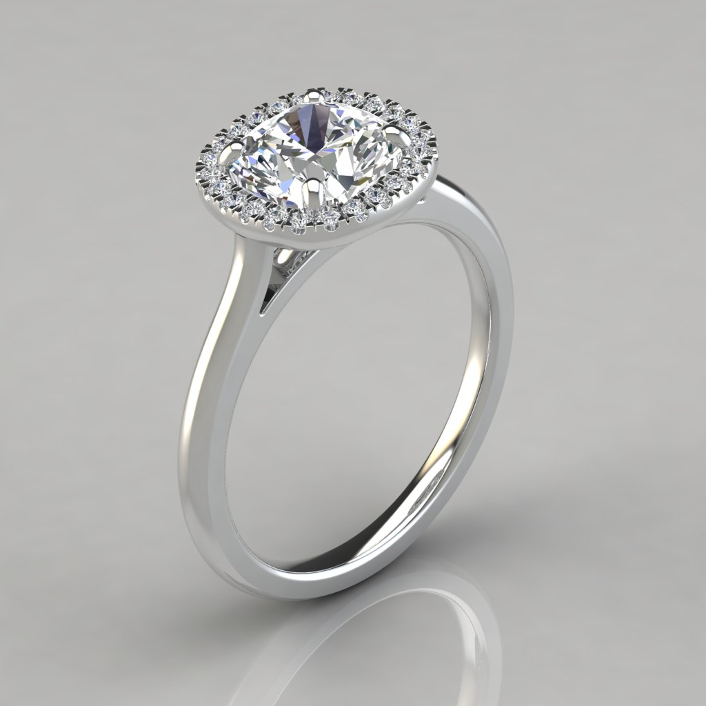 Engagement Ring Memorial Day Sale: Plain Shank Halo Cushion Cut Engagement Ring