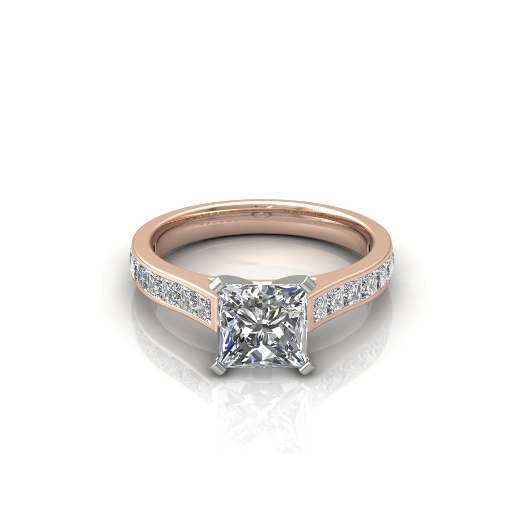 ITEM NUMBER 082 Cathedral Style Princess Cut Channel Set Engagement Ring by Forever Moissanite