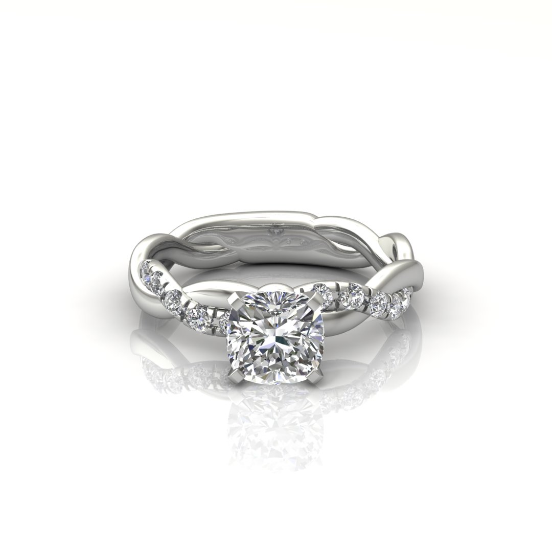 ITEM NUMBER 204 Twist Princess cut Engagement ring by Forever Moissanite