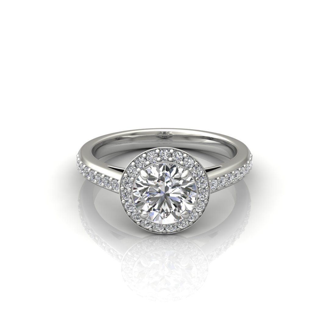 ITEM NUMBER 260 Halo Style Cushion Cut Engagement Ring by Forever Moissanite
