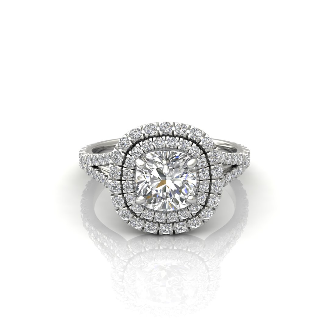 ITEM NUMBER 261 Double Halo Cushion Cut Engagement ring by Forever Moissanite