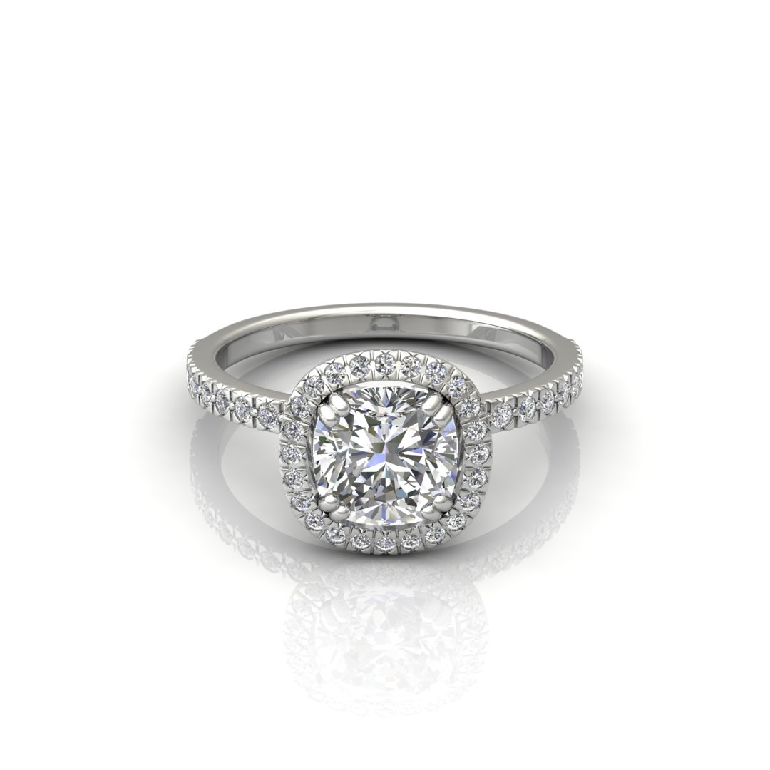 ITEM NUMBER 262 French Cut Pave Cushion cut engagement ring by Forever Moissanite