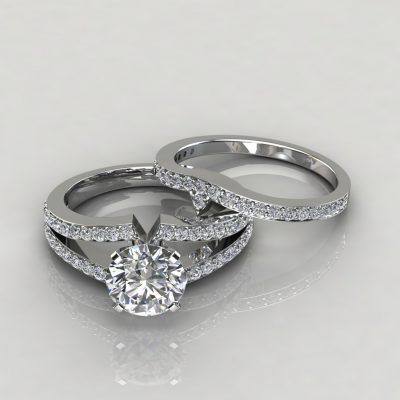 Moissanite Split Shank Pavé Round Cut Bridal Set
