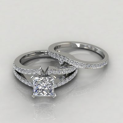 Moissanite Split Shank Pavé Princess Cut Bridal Set