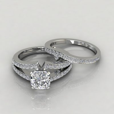 Moissanite Split Shank Pavé Cushion Cut Bridal Set