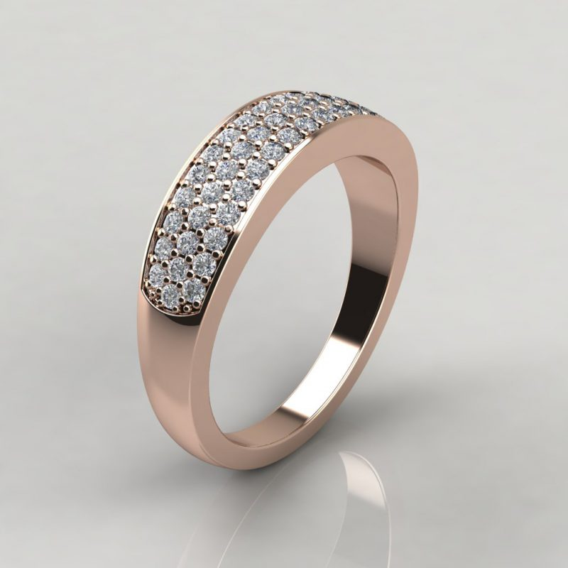 rose gold wide band wedding ring with 52 round brilliant cut moissanite side stones
