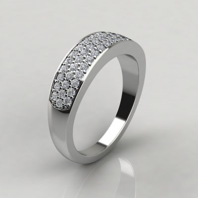 0.43Ct Moissanite Wide Wedding Band Ring