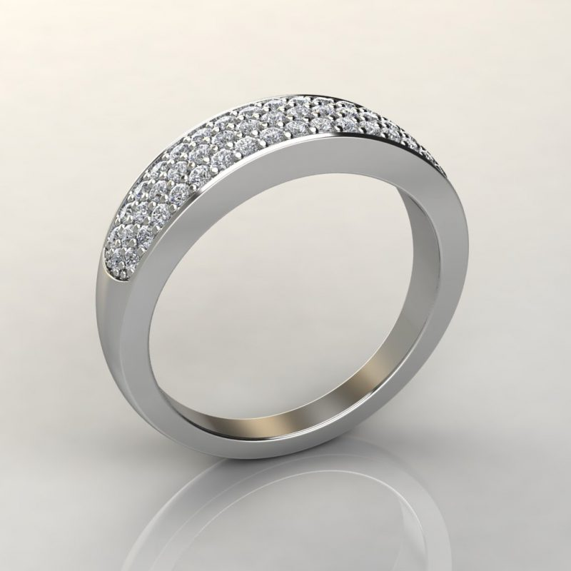 white gold wide band wedding ring with 52 round brilliant cut moissanite side stones
