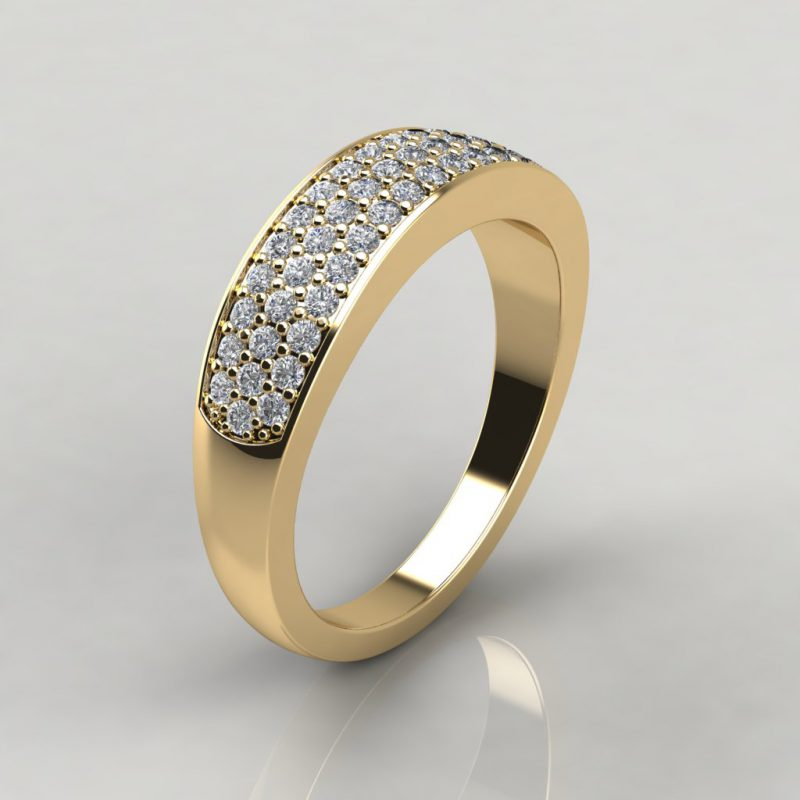 yellow gold wide band wedding ring with 52 round brilliant cut moissanite side stones