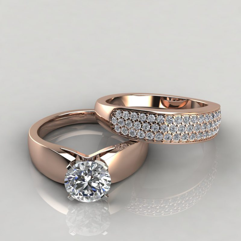 rose gold wide band moissanite bridal set with 52 round brilliant cut side stones