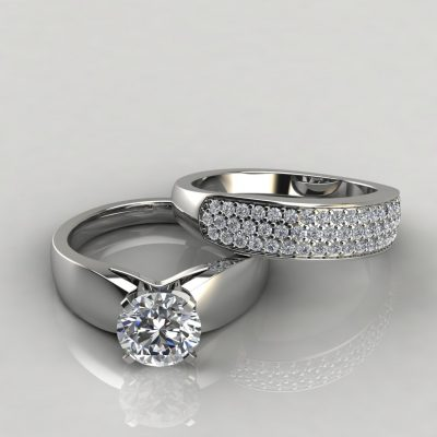 Moissanite Wide Band Engagement Ring and Wedding Band Bridal Set