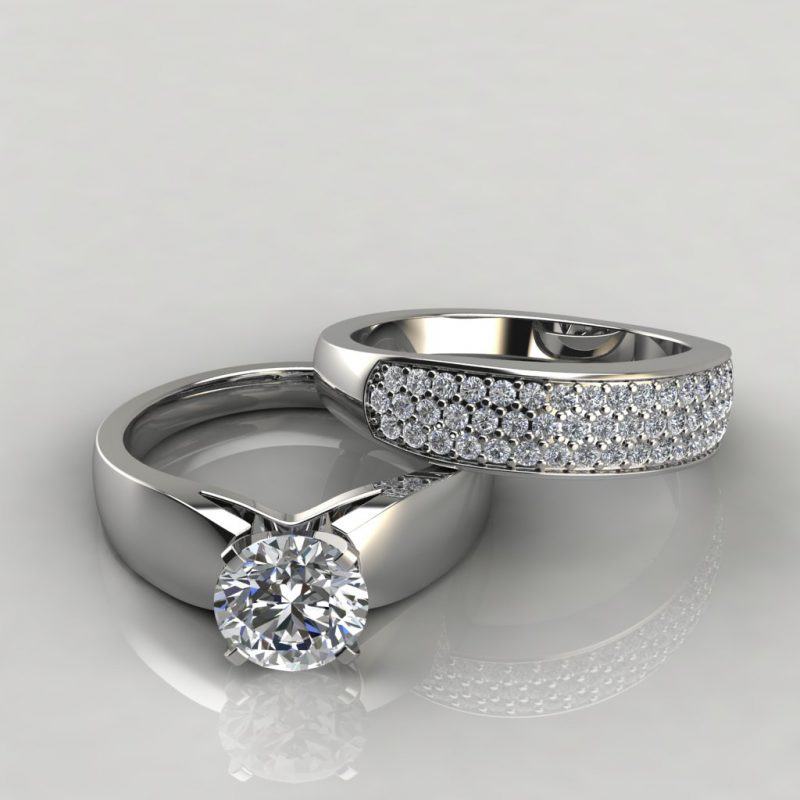 white gold wide band moissanite bridal set with 52 round brilliant cut side stones