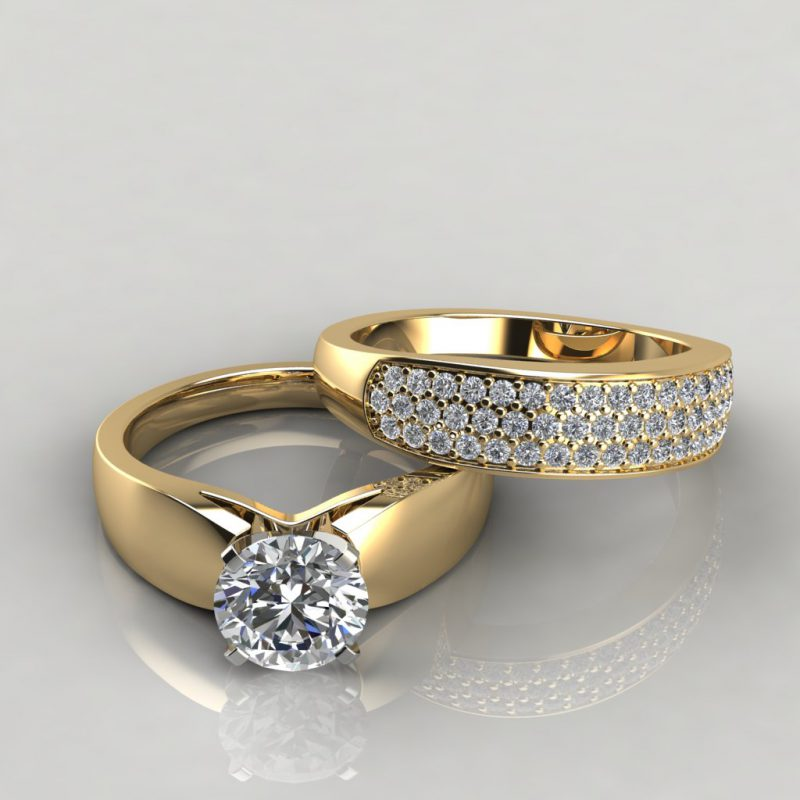 yellow gold wide band moissanite bridal set with 52 round brilliant cut side stones