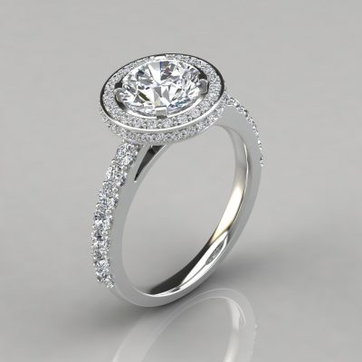 Micro Pavé Cathedral Halo Moissanite Engagement Ring