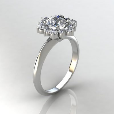 Snowflake Halo Round Cut Moissanite Engagement Ring