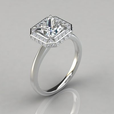 Classic Halo Style Princess Moissanite Engagement Ring