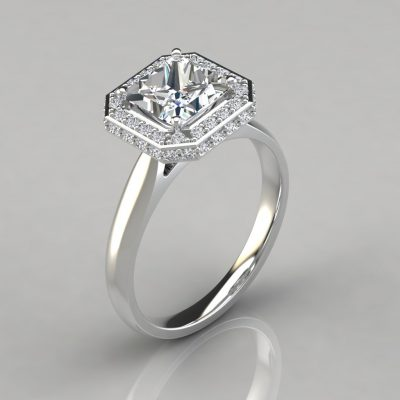 Classic Halo Style Cathedral Princess Cut Moissanite Ring