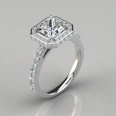 Two-sided Cathedral Princess Halo Engagement Ring