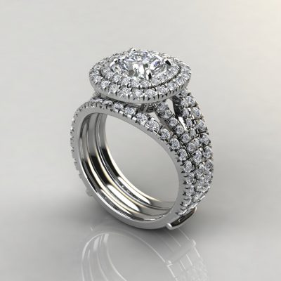 Moissanite Double Halo Engagement Ring and Matching Enhancer Ring Set
